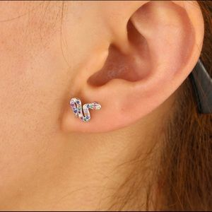 Jewelry - Colorful Crystals Silver Snake Climber Earring